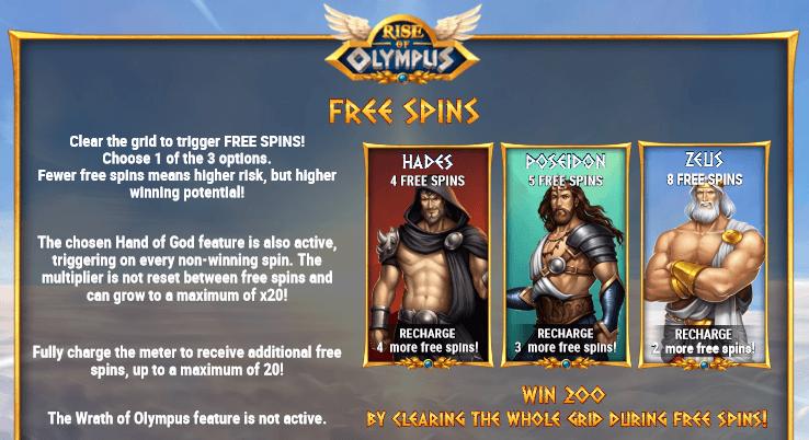 bonus spins at Rise Of Olympus slot