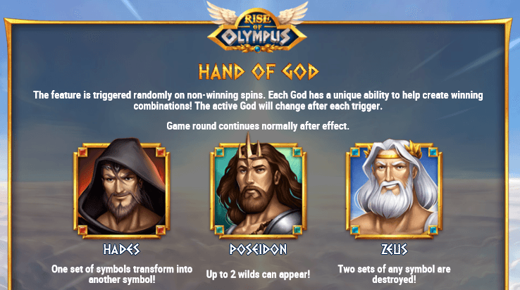 hand of god feature Rise Of Olympus
